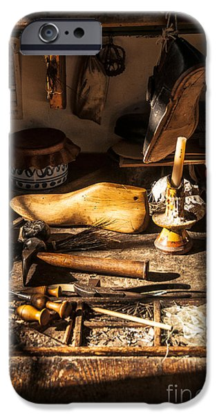 Best Sellers -  - Work Tool iPhone Cases - The Cobblers Shop iPhone Case by Terry Rowe