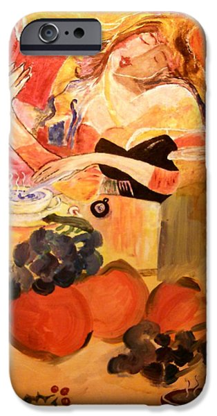 Michelle Mixed Media iPhone Cases - The Coffee Poet iPhone Case by Michelle Reid