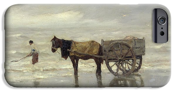 Horse And Cart iPhone Cases - The Collection At Goemon Oil On Canvas iPhone Case by Anton Mauve