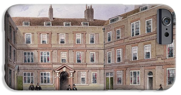 Quad iPhone Cases - The College Of Advocates, Doctors Commons, 1854 Wc On Paper iPhone Case by Thomas Hosmer Shepherd