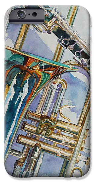 Trumpet iPhone Cases - The Color of Music iPhone Case by Jenny Armitage