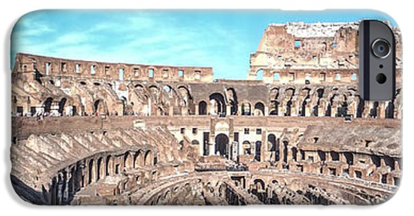 Historic Site iPhone Cases - The Colosseum Panoramic iPhone Case by Alanna DPhoto