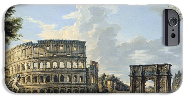 Paolo iPhone Cases - The Colosseum and the Arch of Constantine iPhone Case by Giovanni Paolo Panini