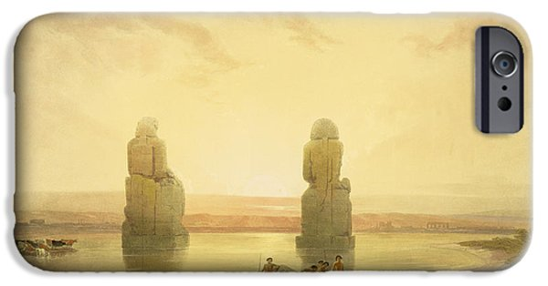 Remnant iPhone Cases - The Colossi of Memnon iPhone Case by David Roberts