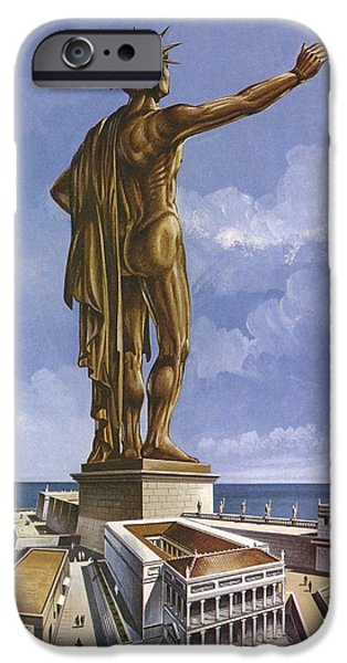 Rhodes iPhone Cases - The Colossus Of Rhodes Colour Litho iPhone Case by English School