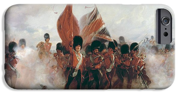 Bravery iPhone Cases - The Colours Advance Of The Scots Guards At The Alma, 1899 Oil On Canvas iPhone Case by Lady Butler