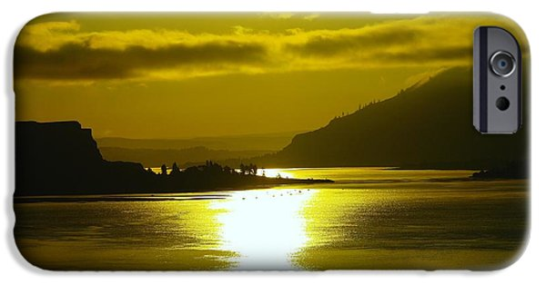 River View iPhone Cases - The Columbia River In The Morn   iPhone Case by Jeff  Swan