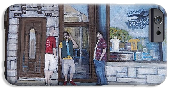 Montreal Streets Paintings iPhone Cases - The Comic Book Shop iPhone Case by Reb Frost