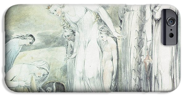 Basket iPhone Cases - The Compassion Of Pharaohs Daughter Or The Finding Of Moses, 1805 Pen & Wc Over Pencil iPhone Case by William Blake