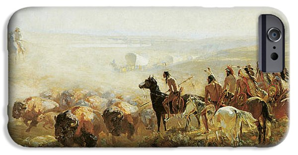 The Horse iPhone Cases - The Conquest of the Prairie iPhone Case by Irving Bacon