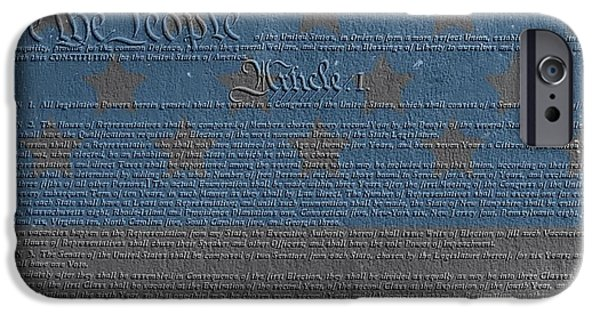 Red White And Blue Mixed Media iPhone Cases - The Constitution Of The United States Of America iPhone Case by Dan Sproul