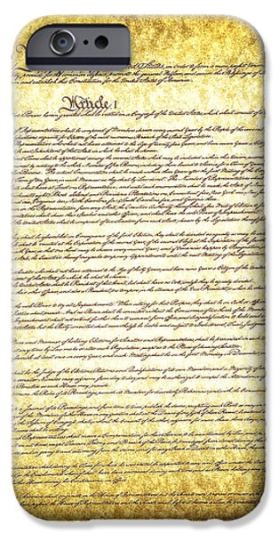 American Revolution iPhone Cases - The constitution on vintage tattered paper  iPhone Case by Eti Reid