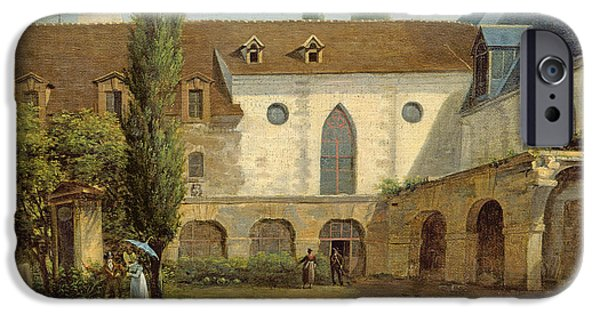 Outdoors iPhone Cases - The Convent Courtyard Of Petits-augustins A Paris, C.1818 Oil On Canvas iPhone Case by Etienne Bouhot