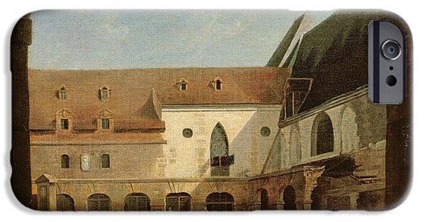 Painter Photographs iPhone Cases - The Convent Courtyard Of Petits-augustins In Paris, C.1818 Oil On Canvas iPhone Case by Etienne Bouhot