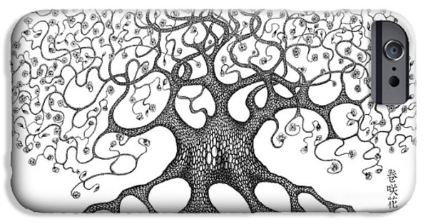 Buddhism Drawings iPhone Cases - The Convoluted Flower Tree iPhone Case by Robert May
