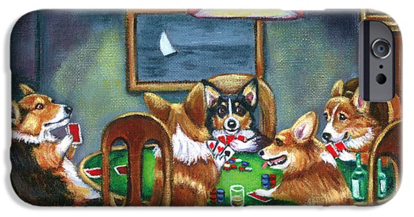 Pets Art iPhone Cases - The Corgi Poker Game iPhone Case by Lyn Cook