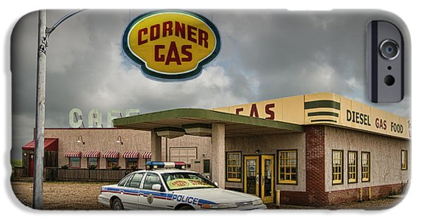 Dog In Landscape Photographs iPhone Cases - The Corner Gas Station from the Canadian TV Sitcom iPhone Case by Randall Nyhof