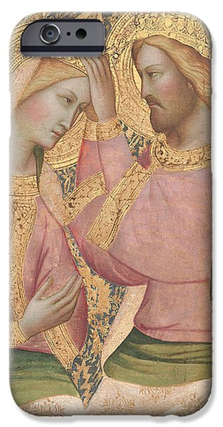 Close Paintings iPhone Cases - The Coronation of the Virgin iPhone Case by Agnolo Gaddi