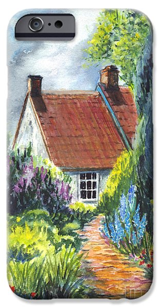 Pathway Drawings iPhone Cases - The Cottage Garden Path iPhone Case by Carol Wisniewski