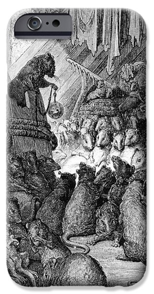 Fable iPhone Cases - The Council Held by the Rats iPhone Case by Gustave Dore