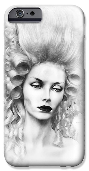 Countess iPhone Cases - The Countess black and white iPhone Case by Camille Lopez