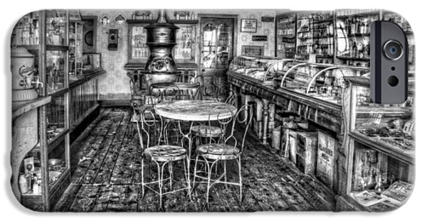 1890Õs iPhone Cases - The Country Store Black and White iPhone Case by Ken Smith
