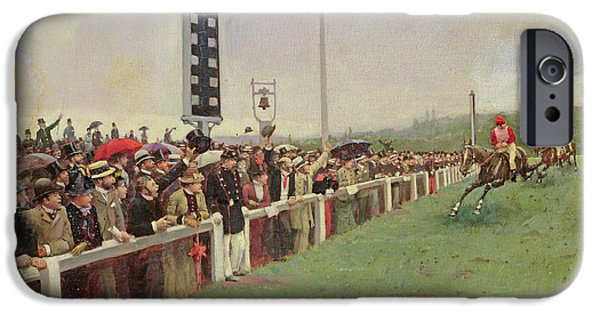 The Horse iPhone Cases - The Course at Longchamps iPhone Case by Jean Beraud