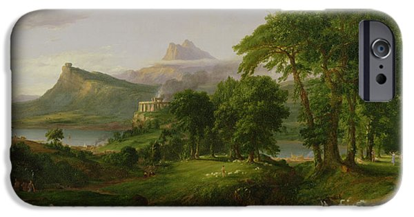 Pasture iPhone Cases - The Course of Empire   The Arcadian or Pastoral State iPhone Case by Thomas Cole