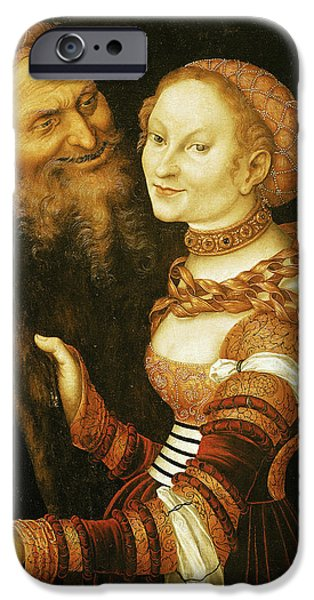 Sickness iPhone Cases - The Courtesan And The Old Man, C.1530 Oil On Canvas iPhone Case by Lucas, the Elder Cranach
