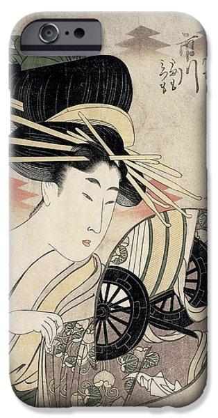 Wagon Wheels Photographs iPhone Cases - The Courtesan Ichikawa Of The Matsuba Establishment, Late 1790s Colour Woodcut iPhone Case by Kitagawa Utamaro