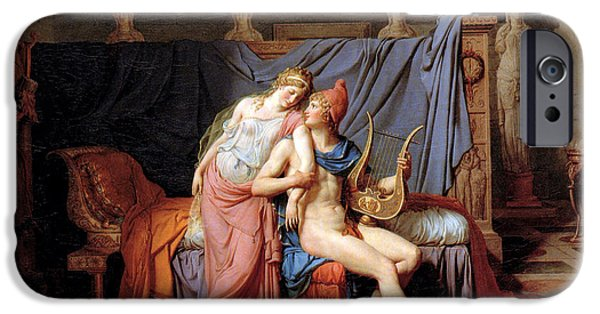Lute Digital Art iPhone Cases - The Courtship of Paris and Helen iPhone Case by Jacques Louis David