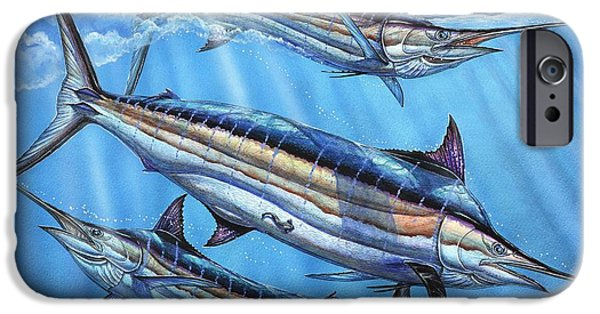 Marlin Azul iPhone Cases - The Courtship iPhone Case by Terry Fox