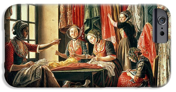 Labour iPhone Cases - The Couturiers Workshop, Arles, 1760 Oil On Canvas iPhone Case by Antoine Raspal
