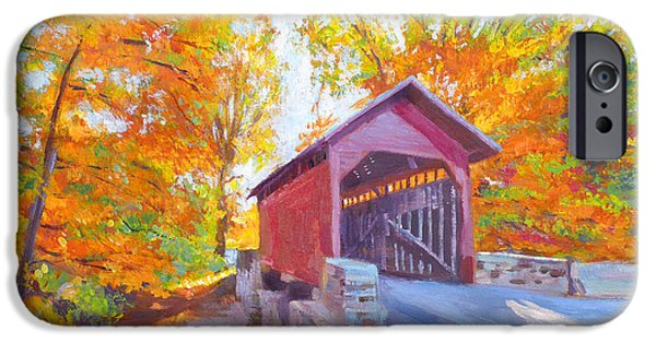 Covered Bridge Paintings iPhone Cases - The Covered Bridge iPhone Case by David Lloyd Glover