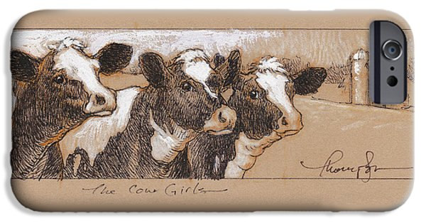 Rural Mixed Media iPhone Cases - The Cow Girls Drawing iPhone Case by Tracie Thompson