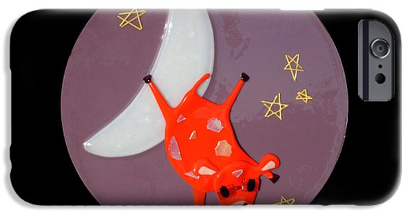 Moon Glass Art iPhone Cases - The Cow Jumped Over The Moon iPhone Case by Cat Christensen
