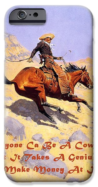 The Cowboy iPhone Cases - The Cowboy With Quote iPhone Case by Fredrick Remington