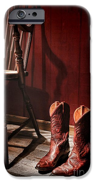 Cowgirl iPhone Cases - The Cowgirl Boots and the Old Chair iPhone Case by Olivier Le Queinec