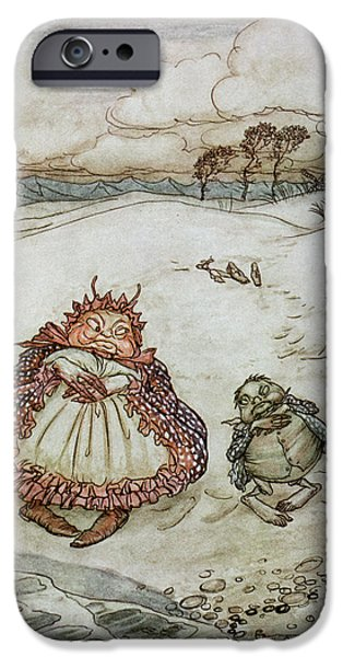 Fable iPhone Cases - The Crab And His Mother, Illustration From Aesops Fables, Published By Heinemann, 1912 Colour Litho iPhone Case by Arthur Rackham