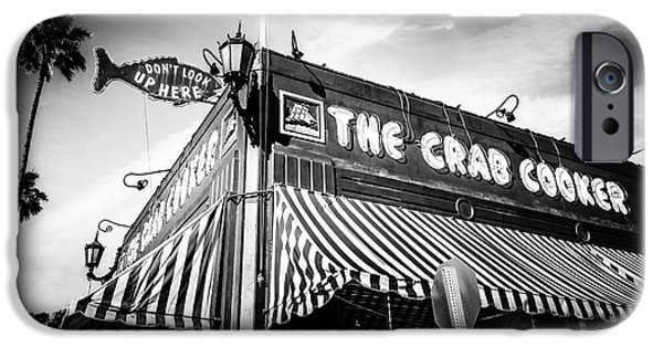 Business iPhone Cases - The Crab Cooker Newport Beach Black and White Photo iPhone Case by Paul Velgos