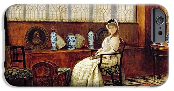 Furniture iPhone Cases - The Cradle Song iPhone Case by John Atkinson Grimshaw