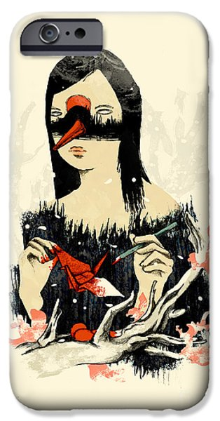 Macabre iPhone Cases - The Crane Wife iPhone Case by Budi Kwan