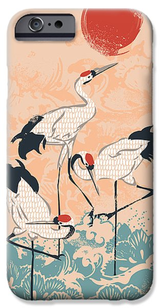 Oriental iPhone Cases - The Cranes iPhone Case by Budi Satria Kwan