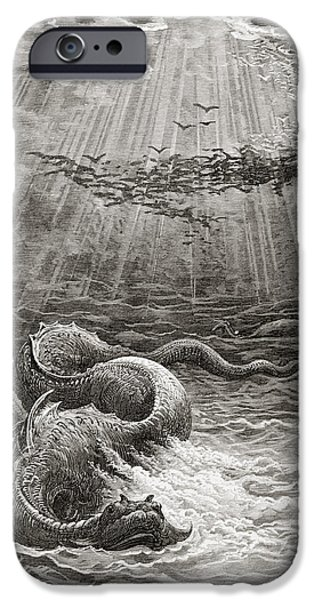 Storm Drawings iPhone Cases - The Creation of Fish and Birds iPhone Case by Gustave Dore