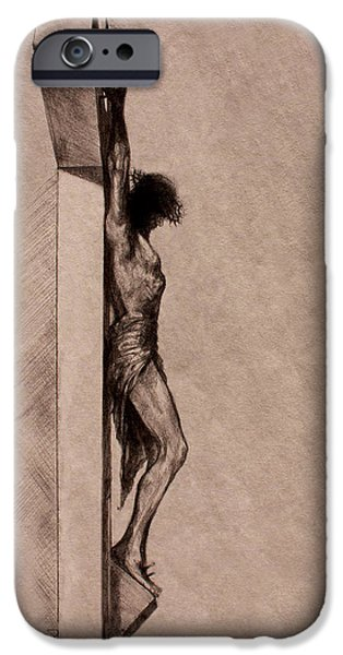 Religious Drawings iPhone Cases - The Cross 2 iPhone Case by Derrick Higgins