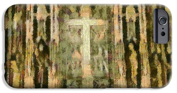 Miracle Mixed Media iPhone Cases - The Cross iPhone Case by Dan Sproul