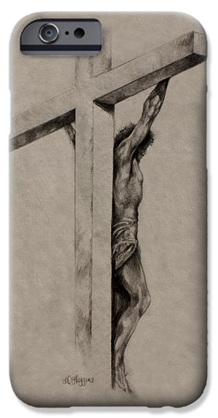 Christ Drawings iPhone Cases - The Cross iPhone Case by Derrick Higgins