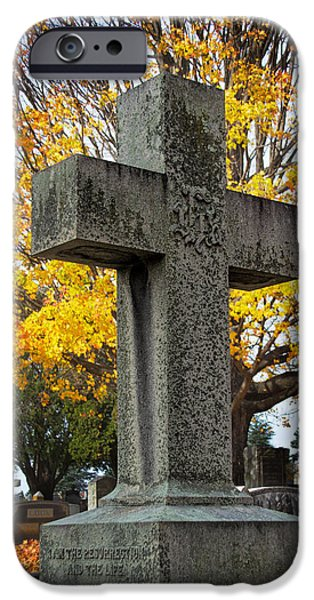Final Resting Place Photographs iPhone Cases - The Cross iPhone Case by Jemmy Archer