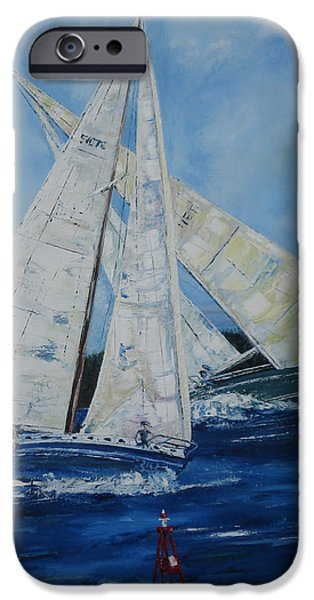 Bouys Paintings iPhone Cases - The Crossing iPhone Case by Martin Ruygrok