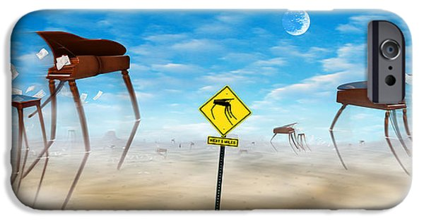 Surrealism Digital Art iPhone Cases - The Crossing - Panoramic iPhone Case by Mike McGlothlen